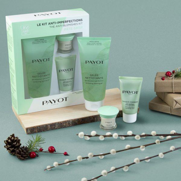 Kit anti imperfections pate grise avec les produits le composant sur fond vert avec des décorations de noel