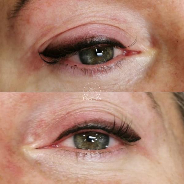 Yeux d'une femme avec dermographie eyeliner poudré